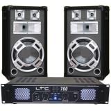 SET BOXE 12 inch BASIC GRI+AMPLIFICATOR LTC700 DJ12BG - Amplificator audio