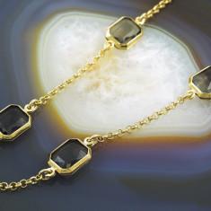 Lantisor placate cu aur - Lant Placat cu Aur 18k, model cu Zirconiu Fumuriu, cod 556
