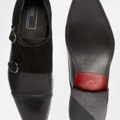 Pantofi Casual/ Eleganti din Piele Naturala, catarama dubla 43 - Pantofi barbati Asos, Culoare: Negru
