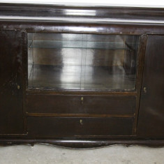 Mobilier, Comode si bufete, Art Deco, 1900 - 1949 - Servanta vintage/antica din lemn masiv, cu vitrina; Bufet; Dulap; Comoda