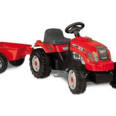 Tractor Copii Smoby Farmer Red Cu Remorca Si Pedale