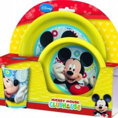 Set 2 Farfurii Si Pahar Bbs Cu Licenta Mickey Mouse