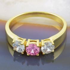 Inel placat cu aur 18k, cu Zirconiu Alb Clar si Roz, cod 946 - Inel placate cu aur