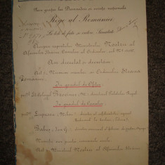Brevet militar, vechi si original cu semnatura Regelui CAROL I al Romaniei