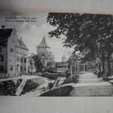 Strada Harteneck cu parc, interbelica, cca 1930 //CARTE POSTLA