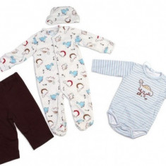 Set hainute 4 piese pentru bebelusi Nice Dino Carters 6 luni, Bleu