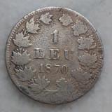 1 leu 1870 moneda argint Romania rara - Moneda Romania, Argint