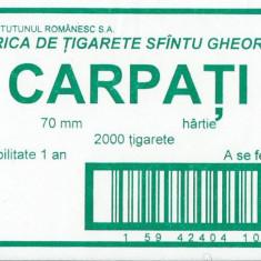 Reclama Tiparita - Eticheta cartus tigari Carpati / Fabrica Sfintu Gheorghe