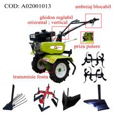 Gardelina Motocultor A02001013, 7 CP, freze, roti, plug BG, rarita reglabila, prasitoare hoby, plug cartofi, 700-1000 mm