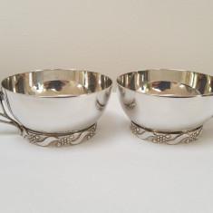 Set 2 cescute cafea/ceai ARGINT MASIV 925 Polonia cca 1930!EXPERTIZA OFICIALA!, Cesti