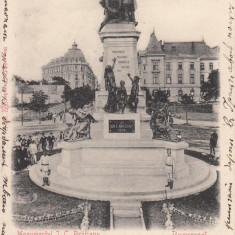 BUCURESTI, MONUMENTUL I.C.BRATIANU, CIRCULATA, STAMPILA AUG.904 - Carte Postala Muntenia pana la 1904, Printata