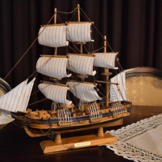 Macheta Navala, 1:12 - Macheta corabie cu panze (Corabie de razboi realizata din Lemn 48x44x11 cm ) #76