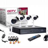 Kit Sistem supraveghere CCTV DVR 4 camere exterior internet cabluri