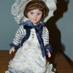 Papusa vintage de portelan, 18cm, haine de epoca, ochi albastri, par saten, deco - Papusa de colectie
