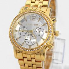 CEAS DAMA MICHAEL KORS TIMEZONE ELITE GOLD&DIAMONDS-SUPERB-COLECTIE NOUA 2016, Fashion, Quartz, Placat cu aur, Rezistent la apa