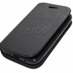 HUSA SAMSUNG GALAXY ACE PLUS S7500 - Husa Telefon Samsung, Alcatel OT-918, Negru, Piele Ecologica, Cu clapeta