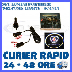 SET 2 x LUMINI LOGO LASER SCANIA GENERATIA 6 (12V, CAMION 24V) - LED CREE 7W - Logo Marca ZDM