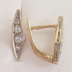 *** CERCEI aur 14K cu diamante 0.3 tcw ** ** - Cercei cu diamante