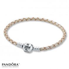 Bratara PANDORA piele bej auriu inchizatoare placata argint925+2 charm cadou - Bratara argint pandora, Femei