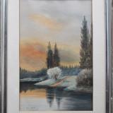 Peisaj - semnat E.Huber '49 - Pictor strain, Peisaje, Acuarela, Altul