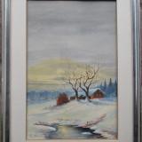 Peisaj de iarna - semnat E.Huber '49 - Pictor strain, Peisaje, Acuarela, Altul