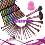 Cosmetice - Trusa machiaj MAC farduri 180 culori + 24 pensule megaga par natural + cadou