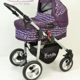 Carucior copii 2 in 1 - Carucior 2 in 1 cu roti gonflabile Street S46 (Violet cu Baloane) Kerttu