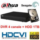 Camera CCTV - Kit DVR HDCVI Tribrid 4 canale 1080P HCVR5104H-S2 cu HDD 1TB inclus