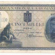 ROMANIA 5000 LEI 1931 SUPRATIPAR 1940 VF, An: 1940