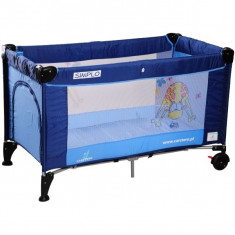 Patut pliant bebelusi - Pat pliant Simplo 120 x 60 cm Blue Caretero