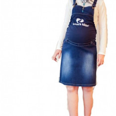 Haine Gravide - Fusta salopeta din jeans pentru gravide FSJ M (42) MaJore