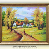 La bunici (3) - tablou peisaj rural in ulei pe panza, 51x41cm - cu rama, An: 2016, Peisaje, Altul