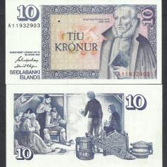 ISLANDA 10 KRONUR 1981 ( 1961 ) Semn G. HJARTARSON & D.OLAFSSON, P-48a.3 a UNC - bancnota europa