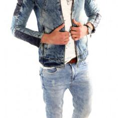 Geaca de blugi tip ZARA - geaca slim fit - geaca fashion LICHIDARE DE STOC 6313 - Geaca barbati, Marime: S, M, XL, Culoare: Din imagine