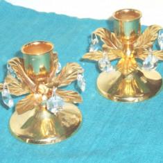 Metal/Fonta, Sfesnice - Sfesnice placate cu aur 24K, cristale Swarovski - design Lovsjo Kristall Suedia