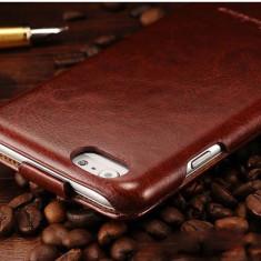 Husa protectie piele fina iPHONE 6 / 6s lux, tip flip cover, MARO CONIAC, Cu clapeta