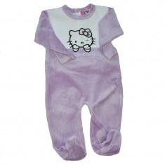 Pijama/salopeta Hello Kitty mov deschis cu alb
