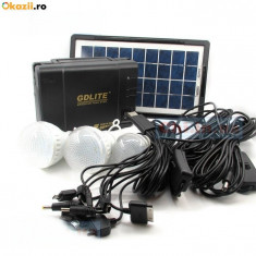 Kit Panou solar fotovoltaic 3 becuri 10 mufe incarcare telefon iluminare GDLITE - Panouri solare