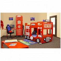 Pat copii etajat masina de Pompieri - Pat supraetajat pentru copii, Alte dimensiuni, Altele, Portocaliu