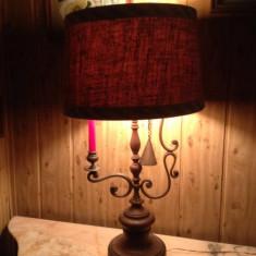 VECHI LAMPADAR DE BIROU DIN LEMN SI ALAMA