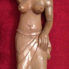 Sculptura, Nuduri, Lemn, Africa - STATUIE AFRICANA - LEMN ABANOS - Femeie care cara pe cap - Sculptata manual !