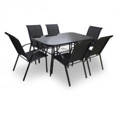 Set gradina 6 scaune inox cu Masa inox si Umbrela neagra pentru soare