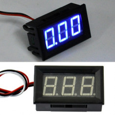 Voltmetru mini digital voltmeter dc 0-30V led albastru fosforescent