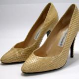 Pantofi dama marca Marcello Giovannetti piele sarpe marimea 35 (P577_1), Piele naturala