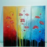 Tablou, Flori, Acrilic, Abstract - Pictura pe panza - Dansul macilor