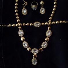 Set Medalion/Inel/Cercei/Brățară -Alb- Safire/Cristal -Femei - Set bijuterii placate cu aur