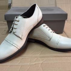 Pantofi barbati, Piele naturala - Pantofi PIELE NATURALA tosoni marime 43 alb