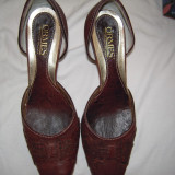 Pantofi ORMES, in totalitate din piele, maro, inaltime toc 6 cm., marime 36 - Pantof dama, Piele naturala