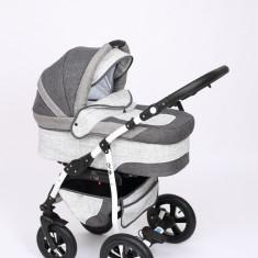 Carucior copii 3 in 1 Baby-Merc Q9 (gri inchis cu gri deschis), Pliabil, Maner reversibil