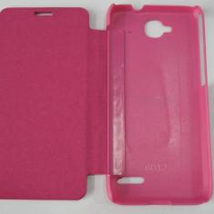 Husa tip carte roz (cu decupaj casca) pentru telefon Orange Hiro (Alcatel Idol Mini OT-6012) - Husa Telefon